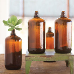 Antique Glass Brown Bottles - Set of 4