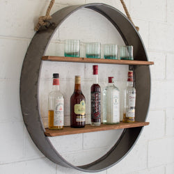 Circle Iron and Wood Hanging Wall Shelf