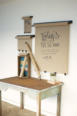 Hanging Note Roll With Antique Brass Finish Clips