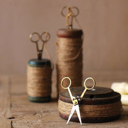 Vintage Wooden Spools With Jute Twine And Scissors