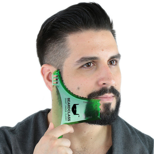 Beard Shaping Tool - 8 in 1 Multi-liner Beard Shaper Template Comb - (Clear Green)