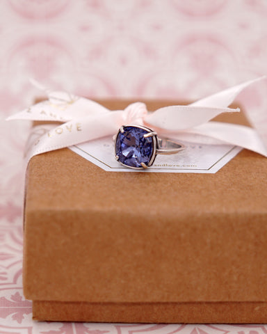 Tanzanite Purple Crystal Cocktail Ring