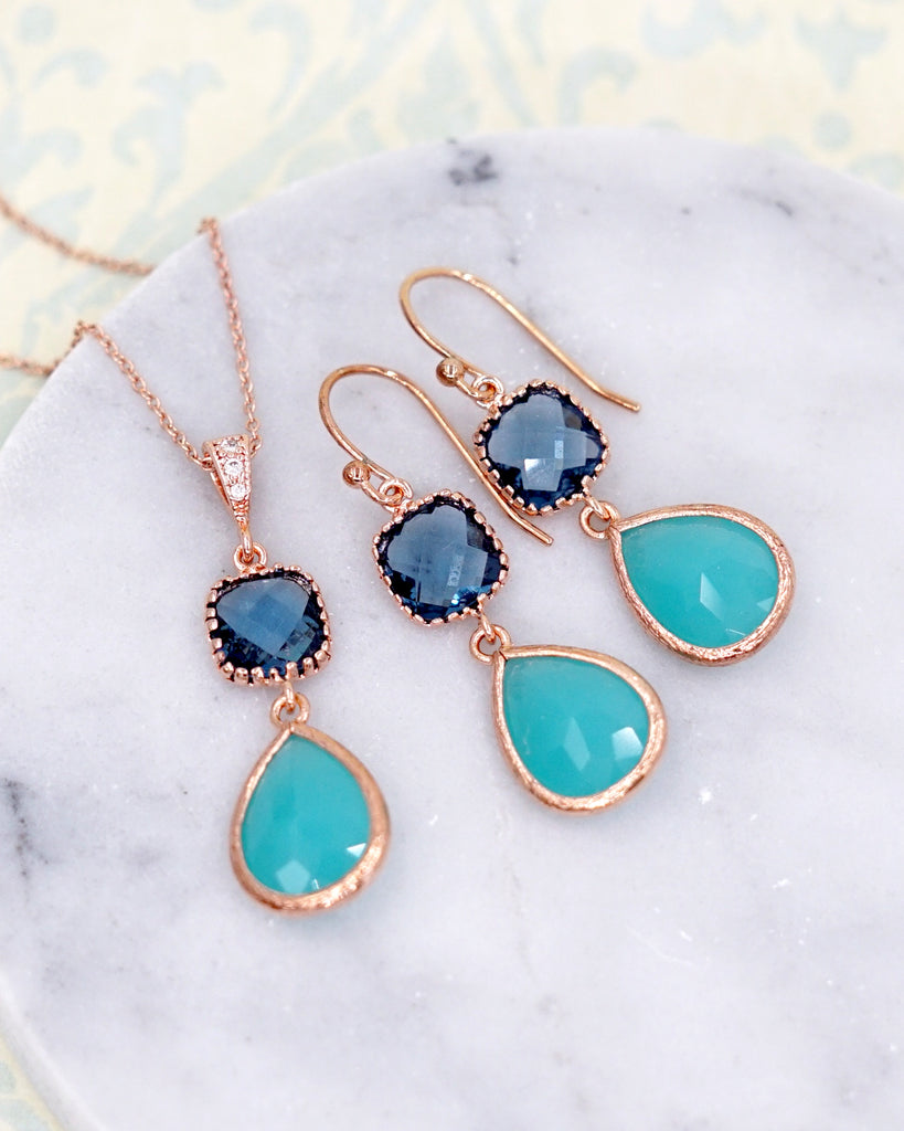 Mint Blue Rose Gold Jewelry Set