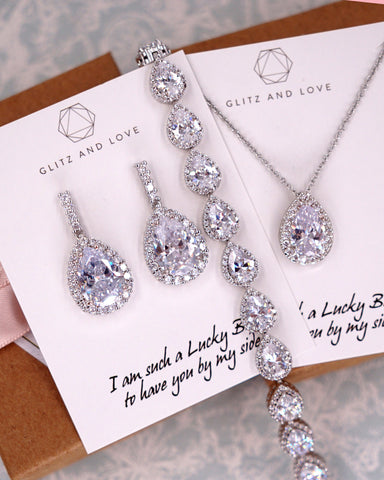 Silver Teardrop CZ Jewelry Set