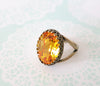 Sunflower Yellow Crystal Cocktail Ring