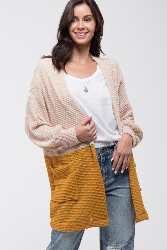 Colorblock Knit Cardigan - EmmaClaireFashions