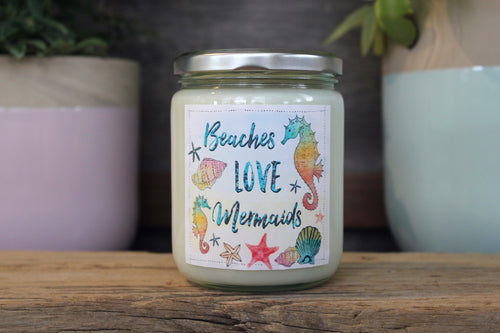 Beaches Love Mermaids 16 oz Soy Candle- Pineapple & Seaside Cotton
