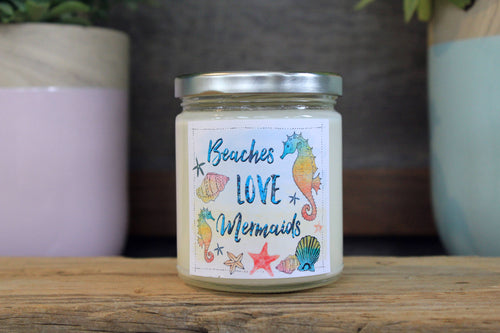 Beaches Love Mermaids 9 oz Soy Candle - Pineapple & Seaside Cotton
