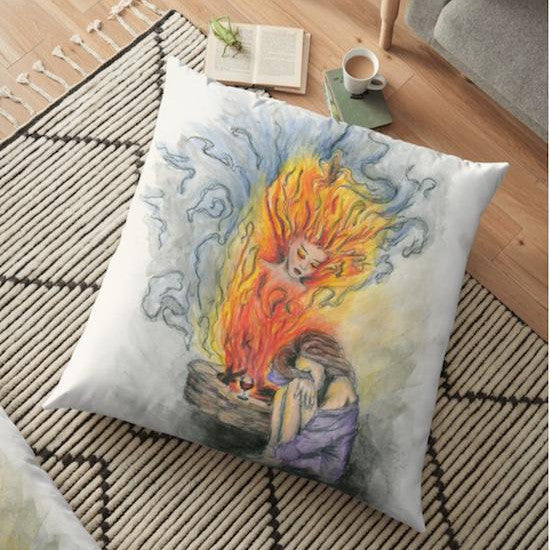 She is fire goddess Floor Pillow - Nora Catherine