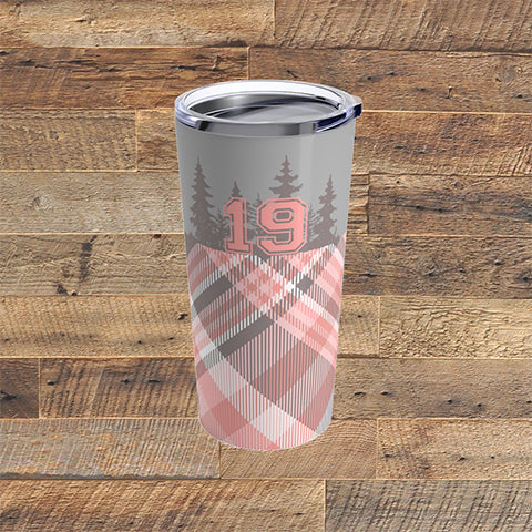 PINK PLAID 19 - Tumbler 20oz - American Style Clothing Company
