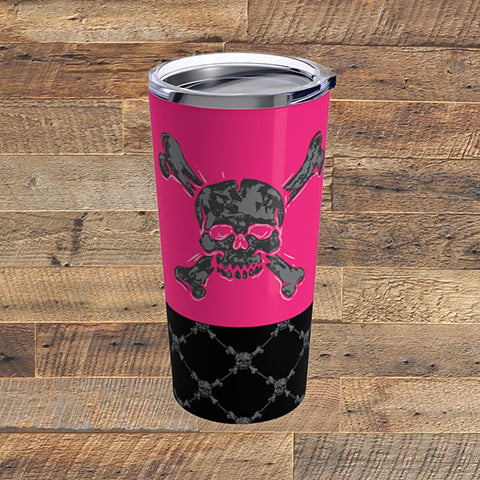 Pink Skulls Tumbler 20 oz. | American Style Clothing Company