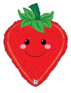 strawberry balloon with fun pal smile face | Fruit party | party supplies