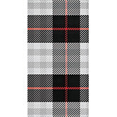 Plaid dinner napkin with grey, white, black and red combinations