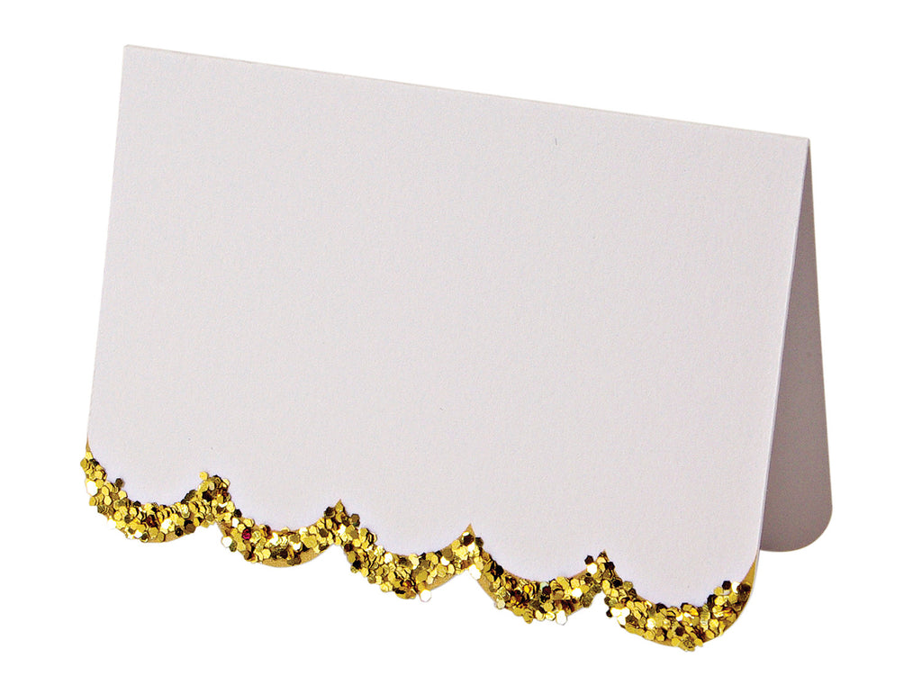 Meri Meri Gold Placecards with Glitter Trim Scalloped Edges