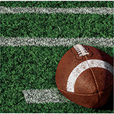 green football field beverage napkin with white yard markings and brown football