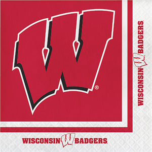 University of Wisconsin Napkins with Large W and Red Background