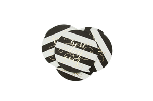 "Black and white paper coasters with gold foil ""Best day Every"" Text"
