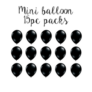 "15 pc pack of 5"" mini solid black latex balloons"