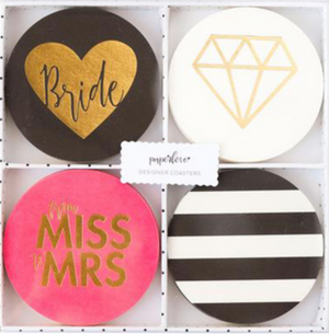 "4 black coasters with gold heart and bride font, 4 white coasters with gold diamond, 4 pink coasters with ""from miss to mrs"" in pink font, and 4 black and white coaster for bridal party supplies"