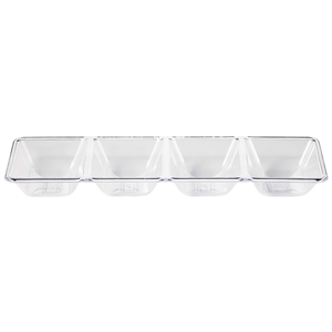 clear plastic tray with 4 serving compartments perfect for all types of parties