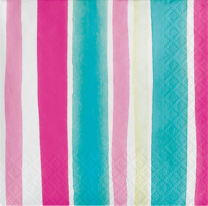 beverage napkin with vertical watercolor stripes in shades of pink, aqua, and ivory