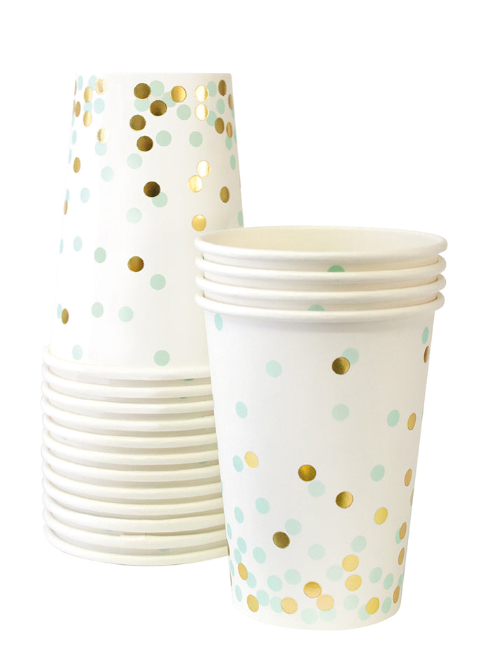 Paper eskimo Mint & Gold confetti paper cup great for baby shower or wedding shower