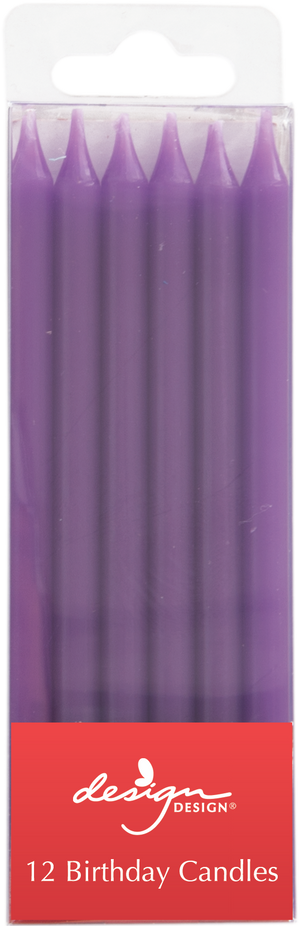 12 purple slim candles