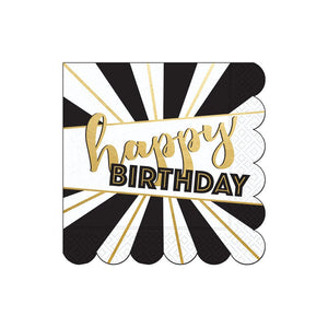 black and white napkin with gold foil happy birthday and scalloped edges