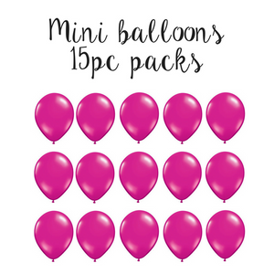"15 pc pack of 5"" mini solid Magenta latex balloons"