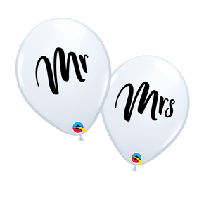 white mr & mrs bridal balloons with black script text