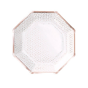 Rose Gold Polka Dot Plates
