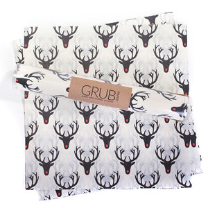 white background with all over red nosed reindeer print