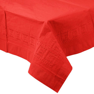 Red PAPER PLASTIC LINED TABLECLOTH great for birthdays, graduations, holidays and other events with easy cleanup
