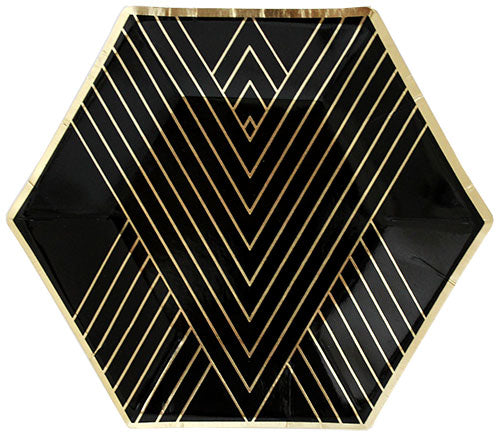 black hexagon shaped dessert plate with gold metallic stripes on angles _harlow & grey party supplies