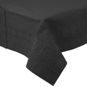 black disposable paper plastic lined table cloth