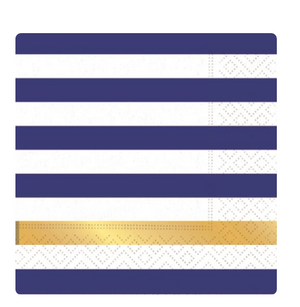 navy and white stripe napkin with bold metallic gold stripe