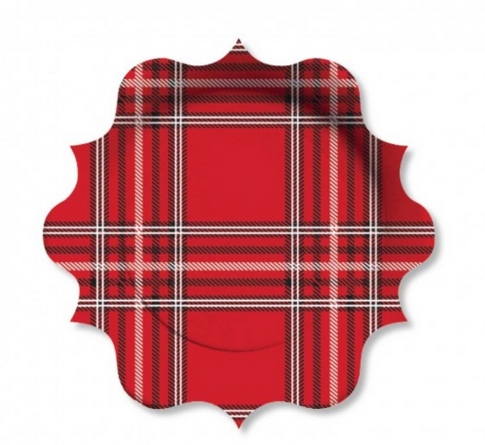 Red Plaid Holiday Plates