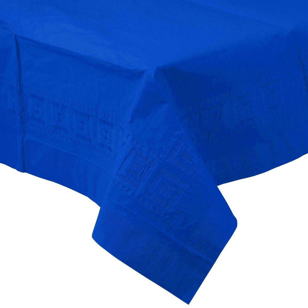 Royal Blue PAPER PLASTIC LINED TABLECLOTH great for birthdays, graduations, holidays and other events with easy cleanup