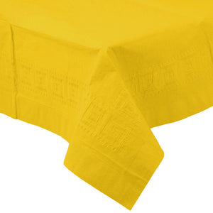 Yellow PAPER PLASTIC LINED TABLECLOTH great for birthdays, St. Patrick's Day, graduations, and other parties with easy cleanup