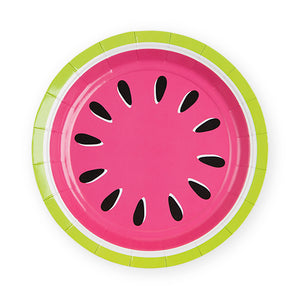Round watermelon plate with pink center & green border | fruit party | watermelon themed party
