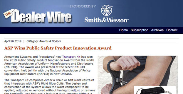 The Dealer Wire: ASP Wins Public Safety Product Innovation Award