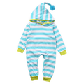 Blue Striped Hooded Romper