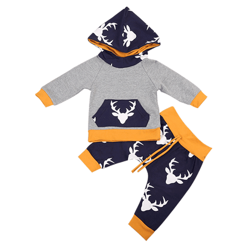 White Deer Hooded Clothing Set