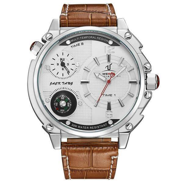 WEIDE Luxury Leather Watch with Compass and Dual Time Zones