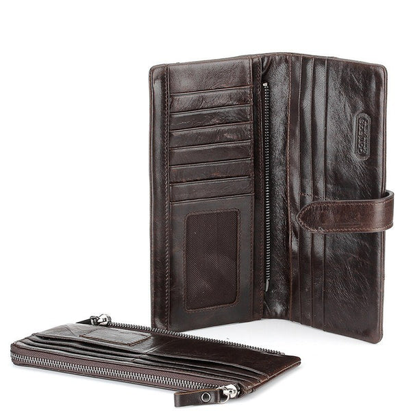 Wallet - Genuine Crazy Horse Cowhide Leather Long Or Standard Clutch Wallet