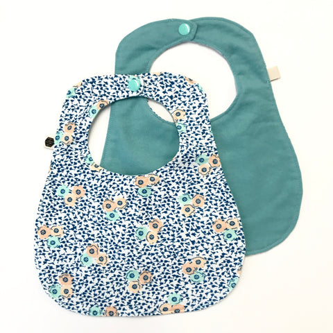 Reversible Flannel Bib - Mint Poppies