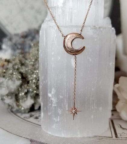 Moon & Star Lariat Necklace - Magick Alchemy