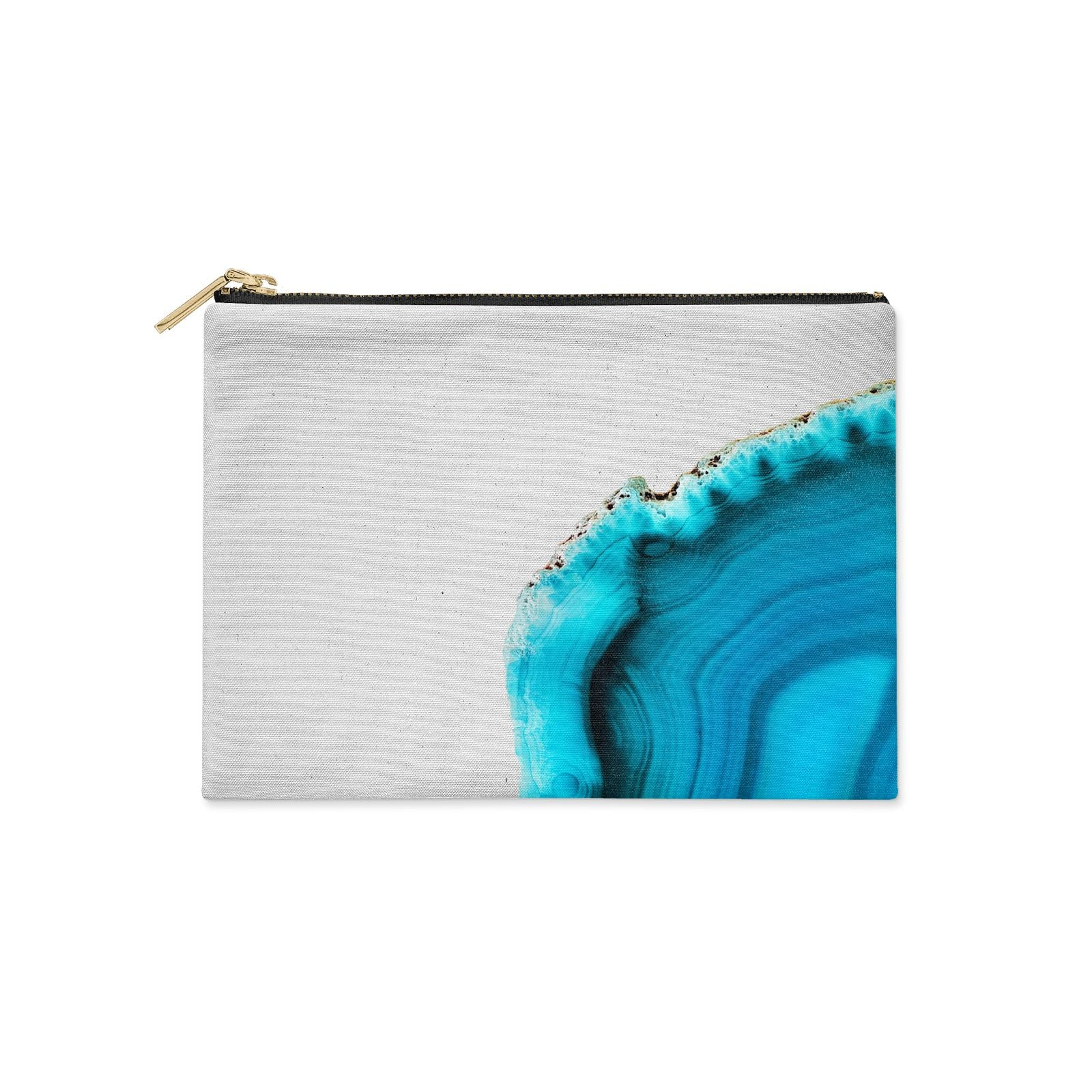 Agate Blue Turquoise Clutch Bag Zipper Pouch