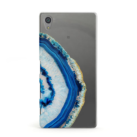 Agate Dark Blue and Turquoise Sony Case