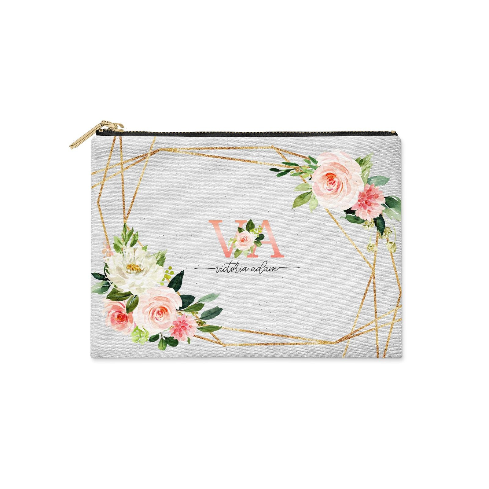 Blush Pink Rose Floral Personalised Clutch Bag Zipper Pouch